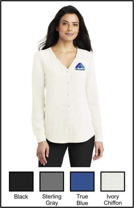 Albertsons LW700 Ladies Long Sleeve Button-Front Blouse