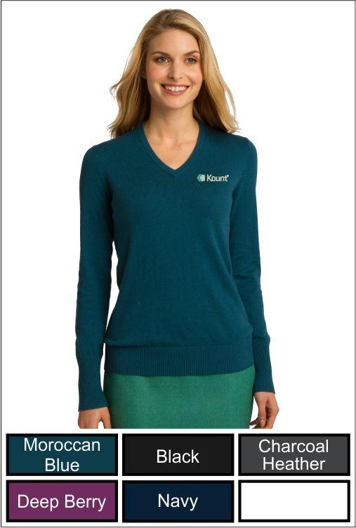 Z1288 Kount Port Authority Ladies V-Neck Sweater