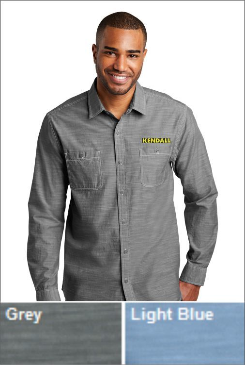 Z1810 Kendall Men's LS Port Authority Slub Chambray Shirt